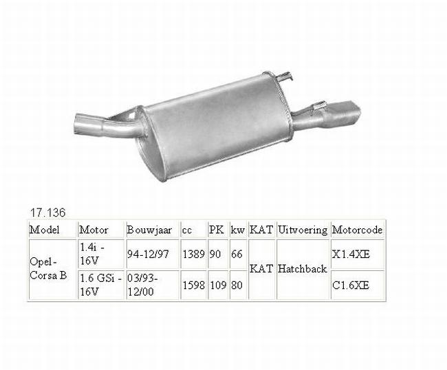 17.136 Einddemper Opel Corsa B 1.6 en 1.6 16V GSI