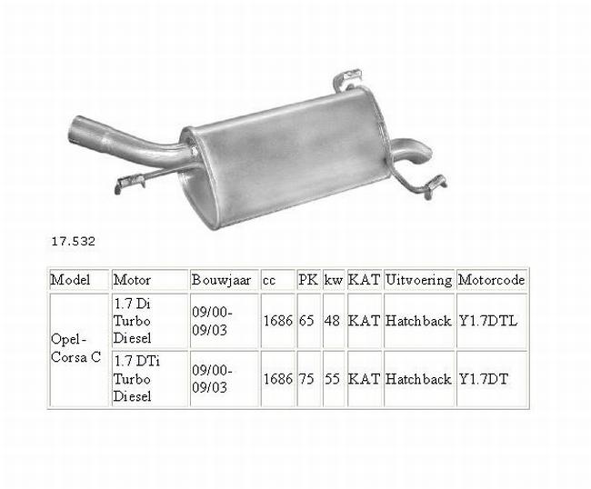 17.532 Einddemper Opel Corsa C 1.7 Di en 1.7 DTi