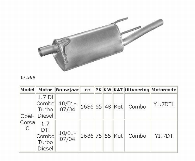 17.584 Einddemper Opel Combo C 1.7Di en 1.7DTi