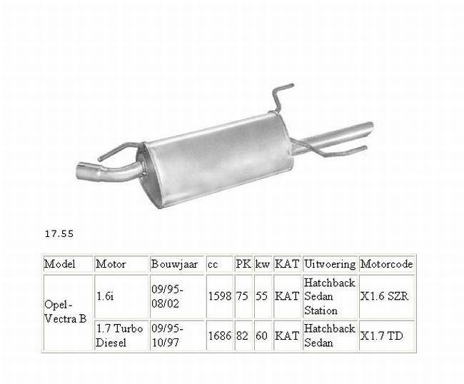 17.55 Einddemper Opel Vectra 1.7TD