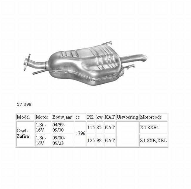 17.298 Einddemper Opel Zafira 1.6 , 1.8 , 2.2 . 2.0D en 2.2D