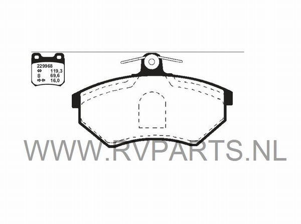 Remblokken vooras VW Polo 6N1 bj'94-99