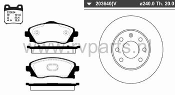 Vooras Corsa C geventileerd  240mm   223624+203640