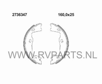 Remschoenset voor handrem Opel Vectra B